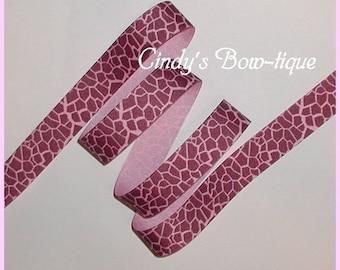 Pink Giraffe Grosgrain Ribbon Brown 5 yards 7/8 wide cbseveneight
