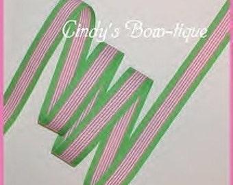 Lime Hot Pink Grosgrain Ribbon Hawaiian Twist Green Stripes 5 yards 7/8 wide cbseveneight