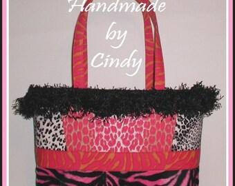Zebra Leopard Purse Tote Bag Hot Pink Orange Black Gray