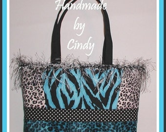 Turquoise Zebra Extra Large Purse Tote Bag Gray Leopard Black Polka Dot Dots