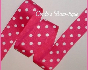 Pink White Ribbon Grosgrain Polka Dot Dots 6 yards 1 1/2 inch wide cbonefive