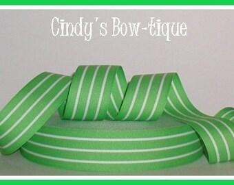 Lime White Ribbon Grosgrain Ribbon Green Stripes 5 yards 1 1/2 inch wide cbonefive