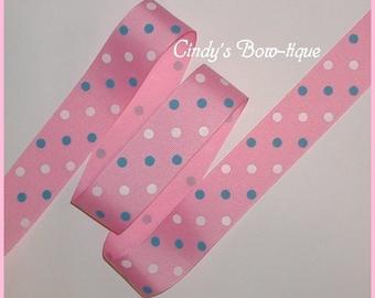 Blue Pink White Grosgrain Ribbon Polka Dot Dots 1 1/2 wide cbonefive