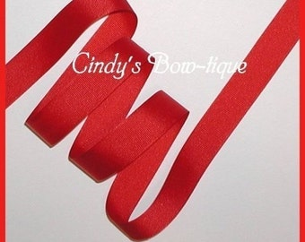 Solid Red Ribbon Grosgrain 5 yards 7/8 inch wide Offray cbseveneight