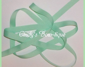 Mint Green Grosgrain Ribbon Pastel Offray 7 yards 5/8 inch wide cbfiveeight