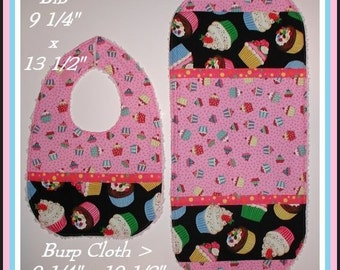 Cupcake Baby Bib Burp Cloth Cupcakes Shower Gift Set Polka Dot Dots