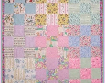 Baby Quilt Pink Lavender Yellow Mint Blue Rose Daisy Gingham