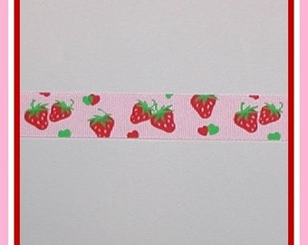 Strawberry Grosgrain Ribbon Strawberries Pink Green Red White 7/8 wide cbseveneight