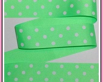Acid Green Grosgrain Ribbon Bright Lime White Dots Polka Dot 1 1/2 w cbonefive