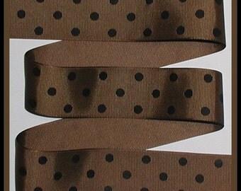 Black Coffee Brown Grosgrain Ribbon Dots Polka Dot 5y 1.5 1 1/2 wide cbonefive