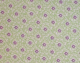 Purple Flowers Fabric Lime Green Filigree Curly Design White