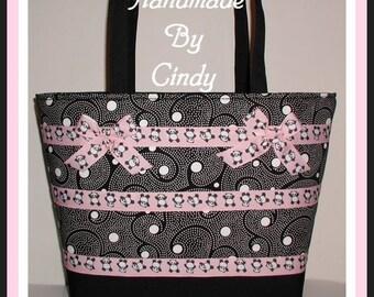 Extra Large Diaper Bag Pink Black Panda Bear Polka Dot Dots Tote Bears