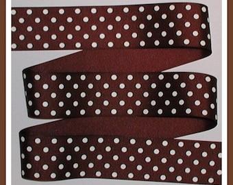 Brown And White Ribbon Grosgrain Polka Dot Dots 1 1/2 wide cbonefive
