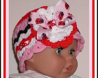 Pink Ladybug Hat Baby Red Ladybugs Ribbon Bow Flower Hearts White Black