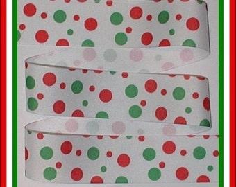 Christmas Red Green White Ribbon Grosgrain Polka Dot Dots Various Sized Dots Big Small 1.5 wide cbonefive