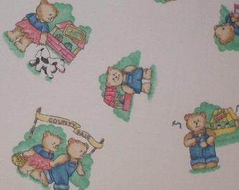 Vintage Bears Fabric Nursery Print Teddy Bear Green County Fair Puppy Dog 1975