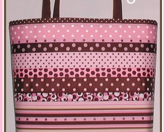 Pink Brown Diaper Bag Tote Grosgrain Ribbon Chocolate Extra Large Tall