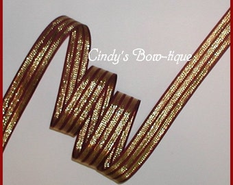 Burgundy And Gold Ribbon, Burgundy Grosgrain Ribbon, Gold Metallic Ribbon, Metallic Gold Grosgrain Ribbon, 5 yards 7/8 wide, cbseveneight