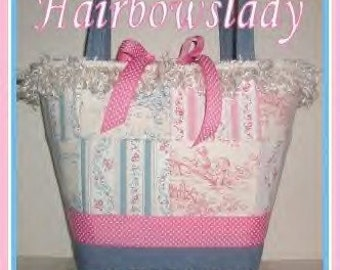 Diaper Bag Pink Blue Tote Central Park Toile Changing Pad Tote Bag Made in USA