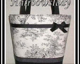 Black Diaper Bag Tote Ivory Central Park Toile White Dots Gingham Made in USA