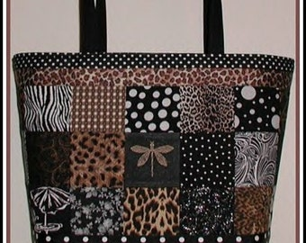 Dragonfly Tote Purse Diaper Bag Zebra Leopard Cosmetic Pouch Handmade in USA