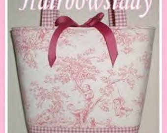 Pink Diaper Bag Purse Tote Central Park Toile Gingham