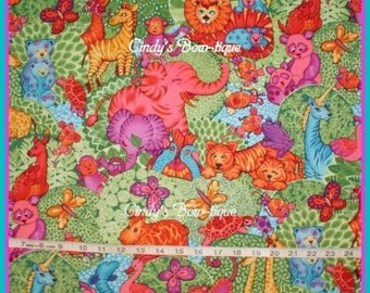 Jungle Fabric Turtle Butterfly Monkey Unicorn Elephant Bird Fish Tiger Cotton Quilting