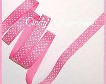 Hot Pink Ribbon Small White Polka Dots Grosgrain Swiss Dot 6 y 5/8 w cbfiveeight