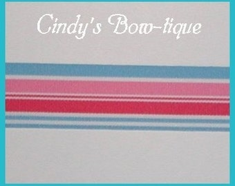 Snowcone Ribbon Stripes Pink Blue Grosgrain Hot Pink Geranium White 5 y 1 1/2 wide cbonefive