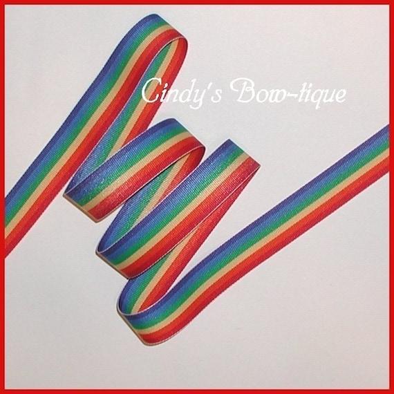 Rainbow Ribbon Stripes Blue Green Yellow Red Orange Grosgrain 5 yards 7/8 wide cbseveneight