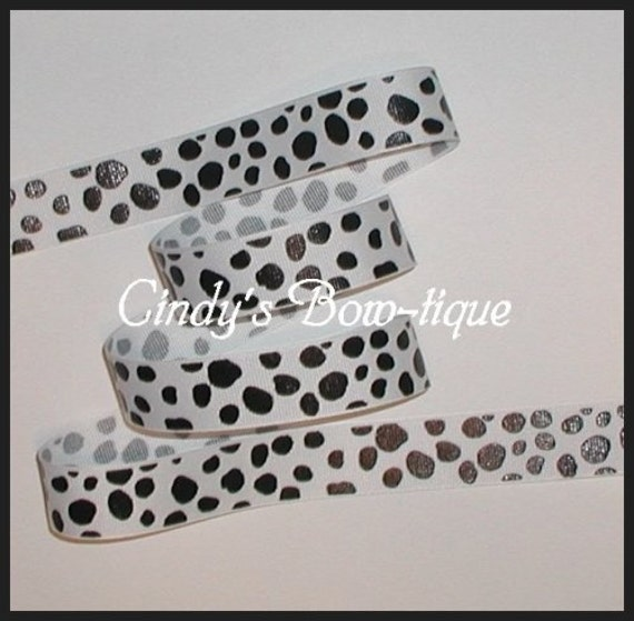 Offray DALMATIAN SPOTS Grosgrain Ribbon 6 YARDS 7\/8 inch wide DOG 2 pieces each 3 yards long total of 6 yards Cindy's Bow-tique etsy id hairbowslady INTERNATIONAL WORLDWIDE SHIPPING cbseveneight