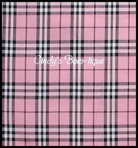 Burberry Plaid Pink Black White Fabric 1 Yard 58 By