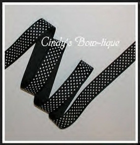 Black White Pin Dot Grosgrain Ribbon Small Polka Dots 8 y 5/8 wide cbfiveeight