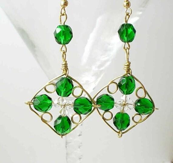 Emerald Green 4 Leaf Clover Earrings 14k Gold Filled