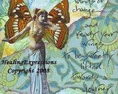 WINDS OF CHANGE altered art faith hope recovery collage wings vintage woman atc aceo print