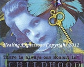 ONE MOMENT CHILDHOOD altered art collage therapy recovery survivor Atc Aceo card Print