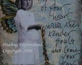 SHARE THE GIFT altered art collage therapy  recovery hope greeting card atc aceo print