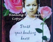 HEALING HEART altered art therapy collage trust AtC ACeO PRINT