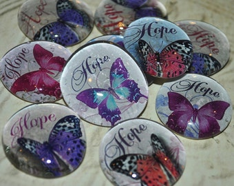 HOPE SOUL STONES set of three altered art collage therapy inspirational word butterfly recovery ptsd survivor