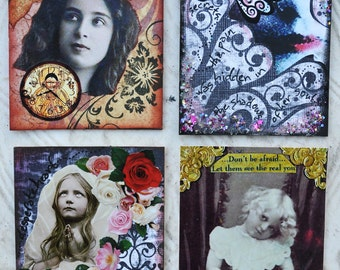 ORIGINAL ATC LOT sale aceo altered art vintage collage therapy healing expressions inspirational
