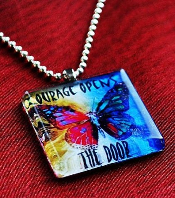 OnE GLASS BUTTERFLY PENDANT  healing art therapy recovery necklace hope survivor inspirational word phrase