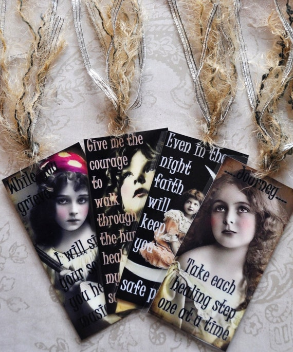 HEALING HOPE TAG Set D four vintage collage girls inspirational gift bookmark