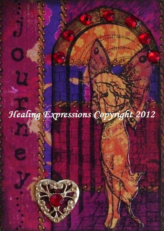 JOURNEY FAIRY aceo atc print altered art card therapy recovery collage angel wings doorway