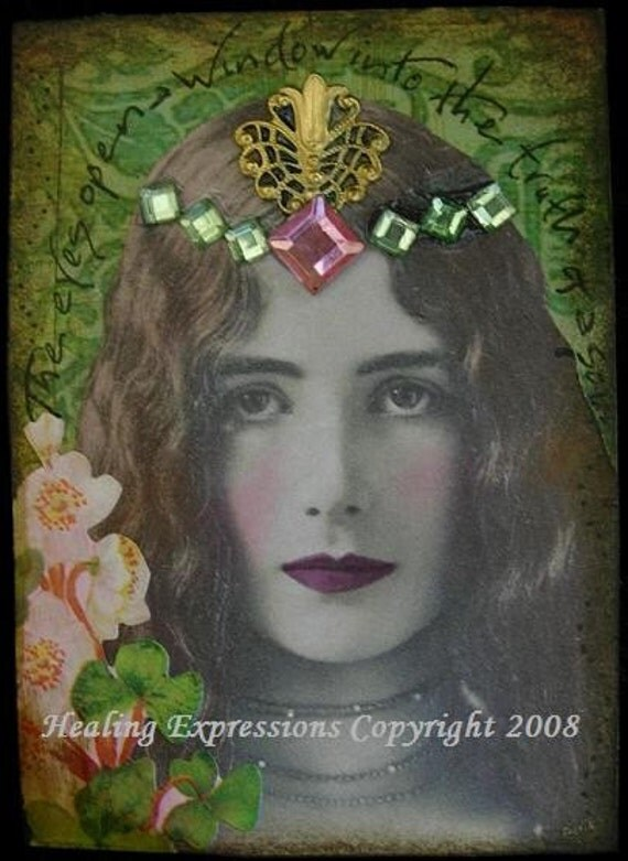 TRUTH OF SOUL altered art collage therapy recovery ACEO ATC PRINT