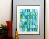 Typography Print, Typographic Letterpress Art Print, Word Art, Inspirational, 8x10, What's Important