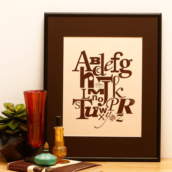 Brown Alphabet Letterpress Art Print, Buff Paper, 8x10 --  Free US Shipping Etsy -- Ready to Ship