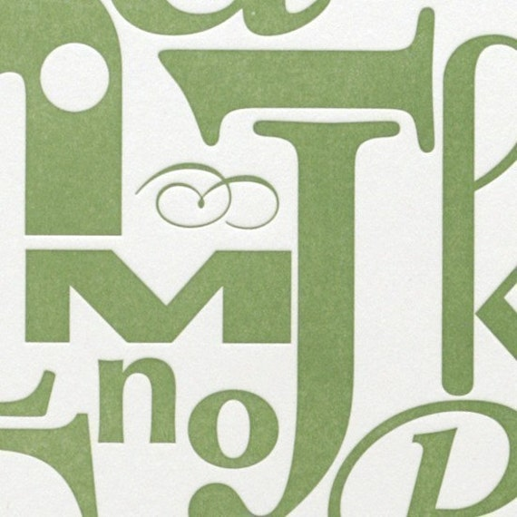 Alphabet in Green -- Original Art in a Limited Edition (8x10)