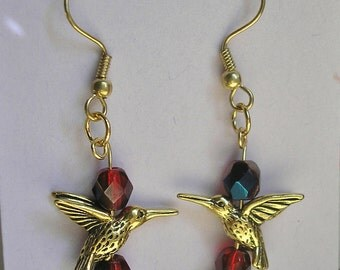 HUMMINGBIRDS and Red Crystal EARRINGS