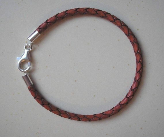 Braided Leather Cord  Bracelet Fits Pandora Beads--Custom Made