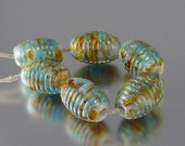 Aquarius Gold Handmade Glass Lampwork Beads by Vivian